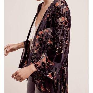 Anthropologie Roseband Velvet Kimono